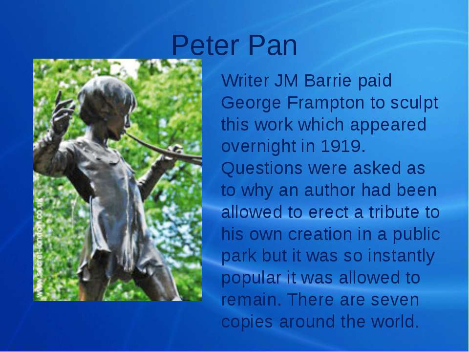 Peter Pan Writer JM Barrie paid George Frampton to sculpt this work which app...