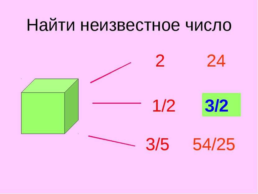 Найти неизвестное число 2 1/2 3/5 24 ? 54/25 3/2