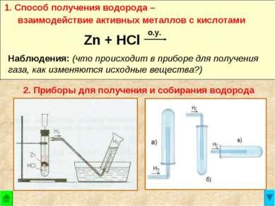 1. Способ получения водорода – взаимодействие активных металлов с кислотами Z...