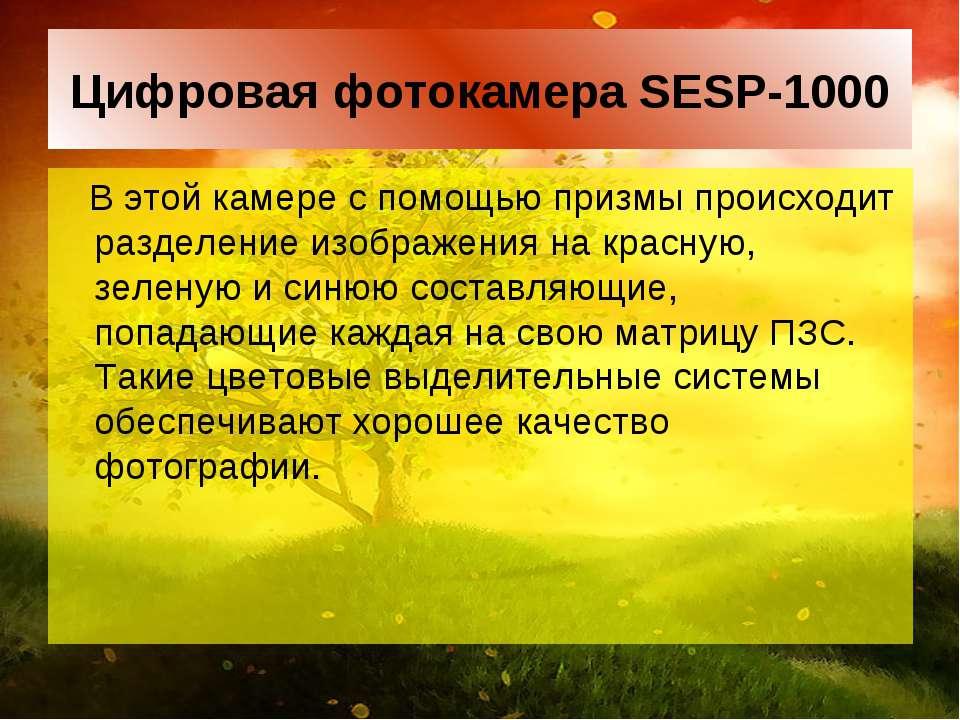 Цифровая фотокамера SESP-1000 В этой камере с помощью призмы происходит разде...