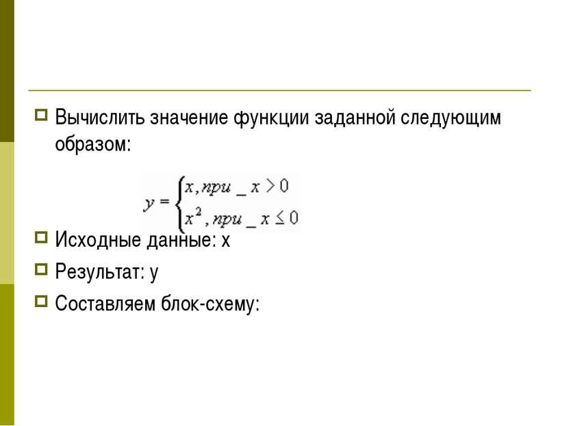 Вычислить значение функции заданной следующим образом: Исходные данные: х Рез...