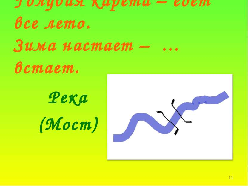 * Голубая карета – едет все лето. Зима настает – … встает. Река (Мост)