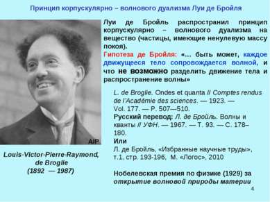 * Принцип корпускулярно – волнового дуализма Луи де Бройля Луи де Бройль расп...