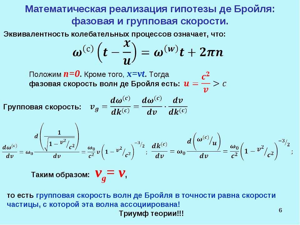 * Математическая реализация гипотезы де Бройля: фазовая и групповая скорости....