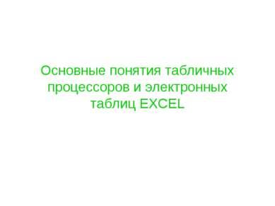 Основные понятия табличных процессоров и электронных таблиц EXCEL