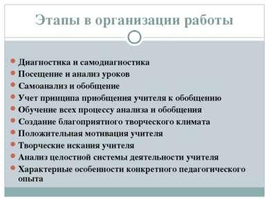 Этапы в организации работы Диагностика и самодиагностика Посещение и анализ у...