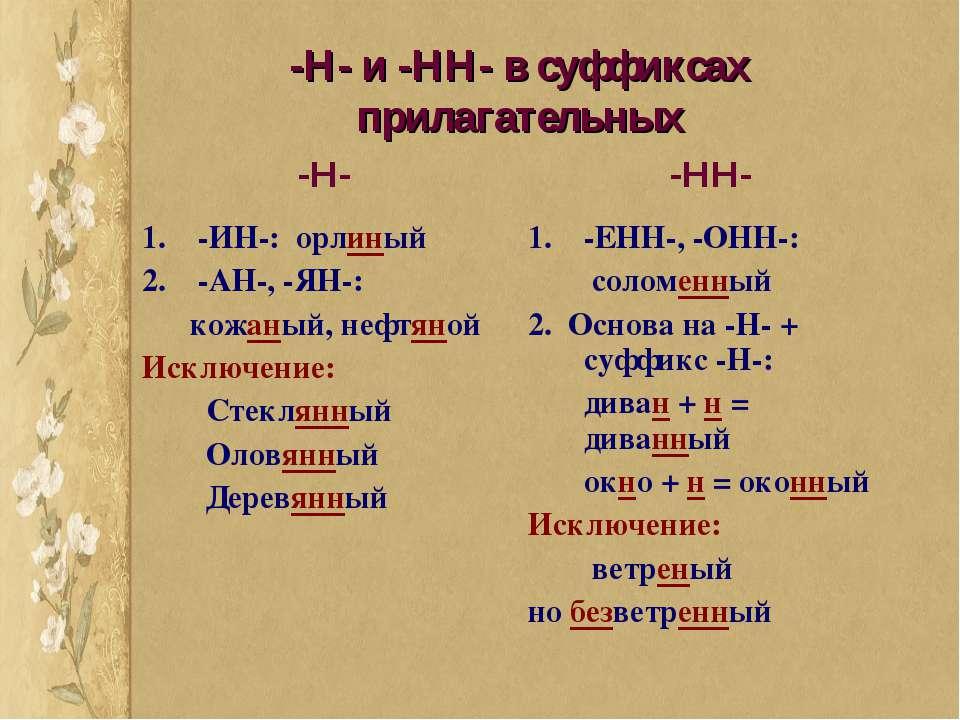 -Н- и -НН- в суффиксах прилагательных