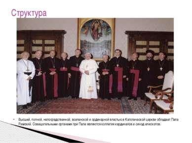 Высшей, полной, непосредственной, вселенской и ординарной властью в Католичес...