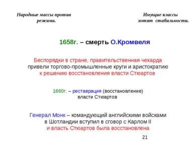 Народные массы против Имущие классы режима. хотят стабильности. 1658г. – смер...