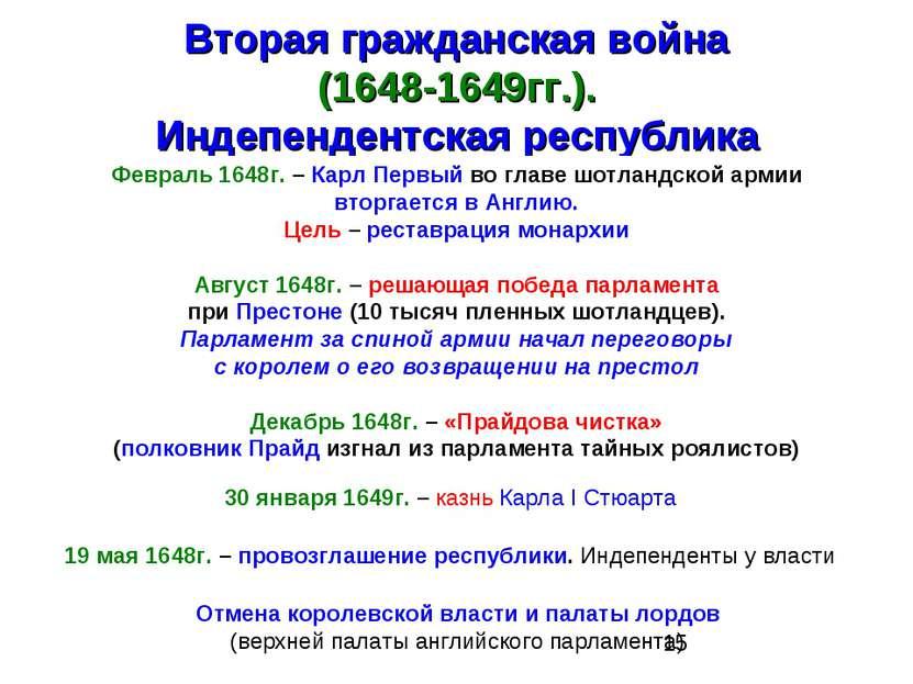 Вторая гражданская война (1648-1649гг.). Индепендентская республика Февраль 1...