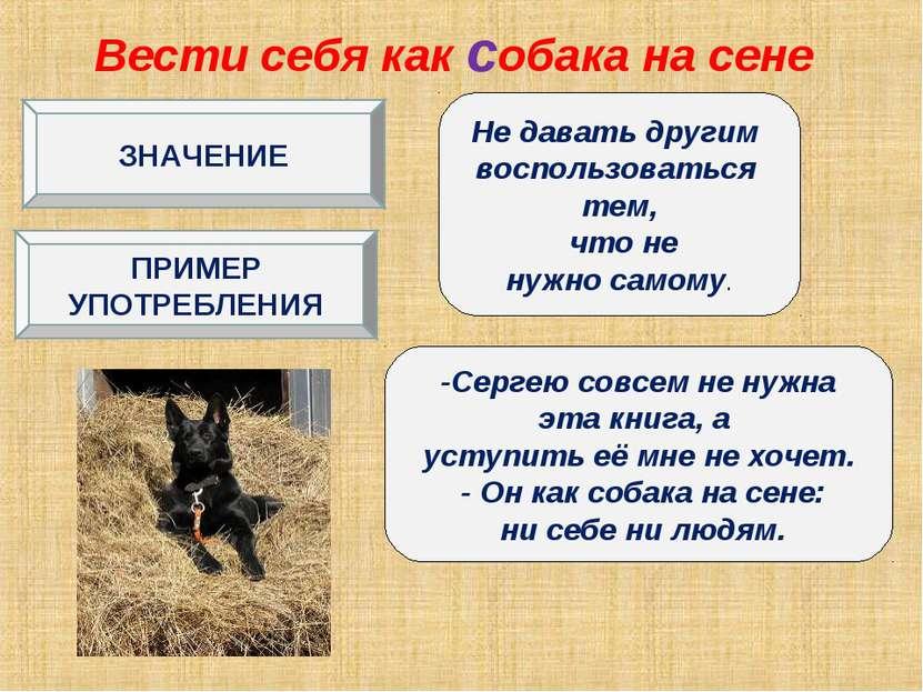 Вести себя как собака на сене Не давать другим воспользоваться тем, что не ну...