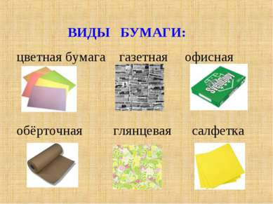 ВИДЫ БУМАГИ: цветная бумага газетная офисная обёрточная глянцевая салфетка