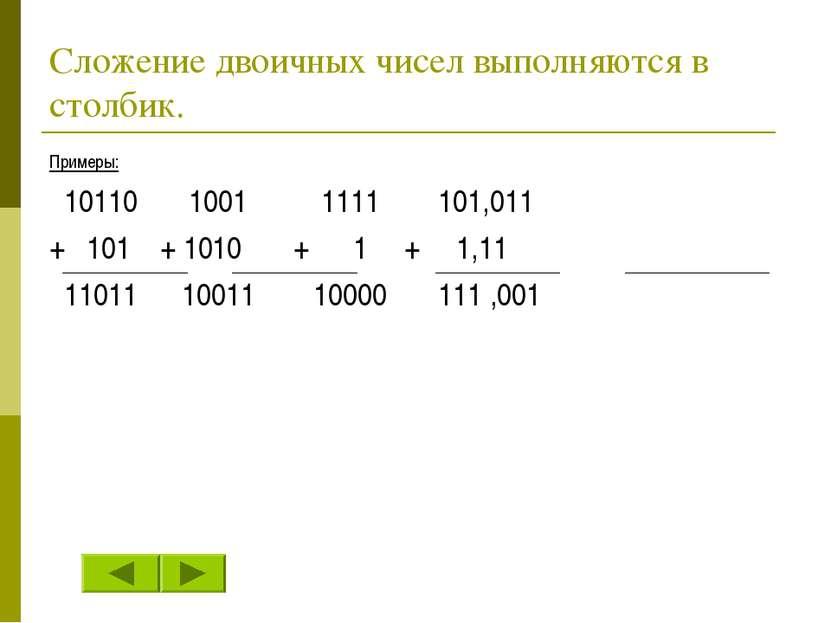 Сложение двоичных чисел выполняются в столбик. Примеры: 10110 1001 1111 101,0...