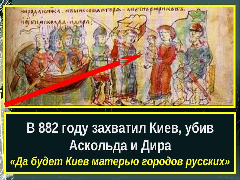 Какой сюжет древнерусской истории изображён на рисунке? В 882 году захватил К...