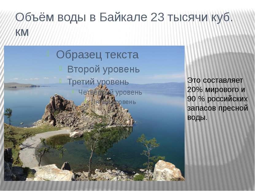 Объём воды в Байкале 23 тысячи куб. км Это составляет 20% мирового и 90 % рос...
