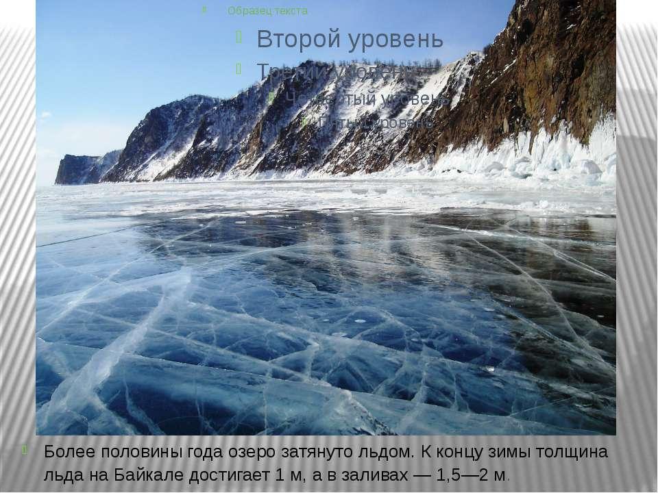 Более половины года озеро затянуто льдом. К концу зимы толщина льда на Байкал...