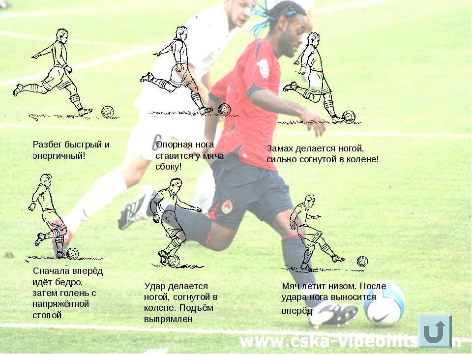 Опорная нога ставится у мяча сбоку! Разбег быстрый и энергичный! Замах делает...