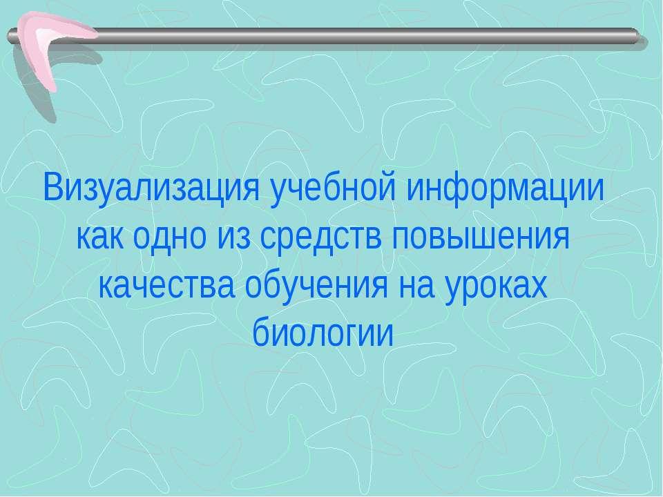 Визуализация учебной информации как одно из средств повышения качества обучен...