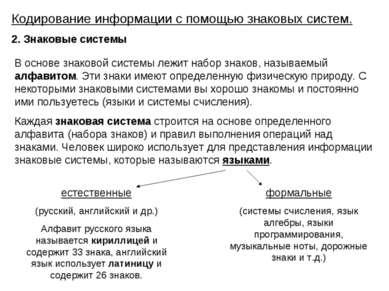 Кодирование информации с помощью знаковых систем. 2. Знаковые системы В основ...