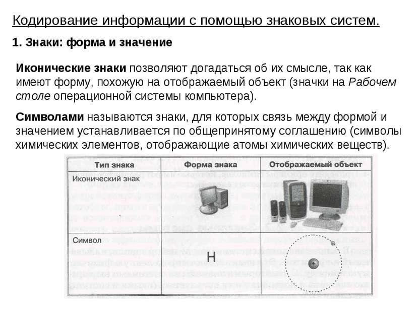 Кодирование информации с помощью знаковых систем. 1. Знаки: форма и значение ...