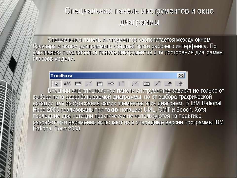 Специальная панель инструментов и окно диаграммы Специальная панель инструмен...