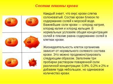 Состав плазмы крови Каждый знает, что вкус крови слегка солоноватый. Состав к...