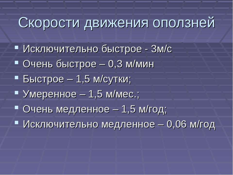 Скорости движения оползней Исключительно быстрое - 3м/с Очень быстрое – 0,3 м...