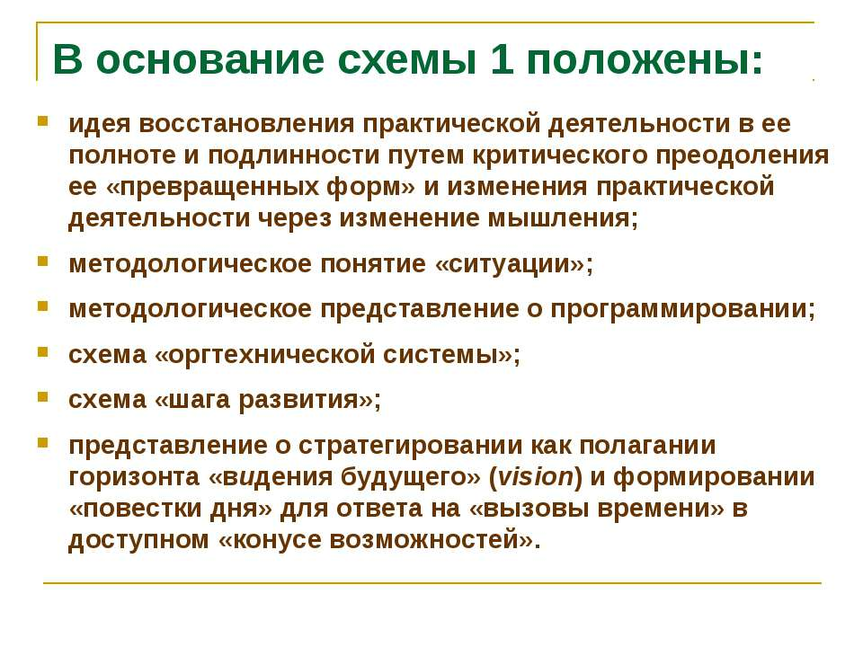 В основание схемы 1 положены: идея восстановления практической деятельности в...