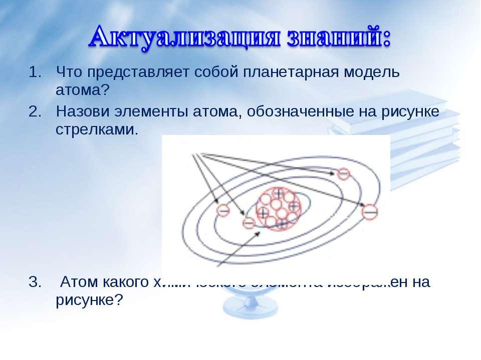 Что представляет собой планетарная модель атома? Назови элементы атома, обозн...