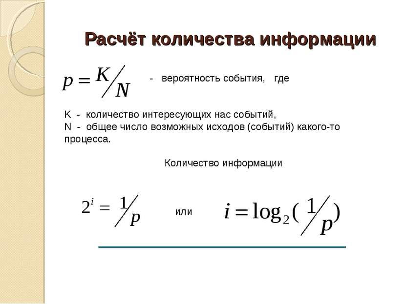 Расчёт количества информации - вероятность события, где K - количество интере...