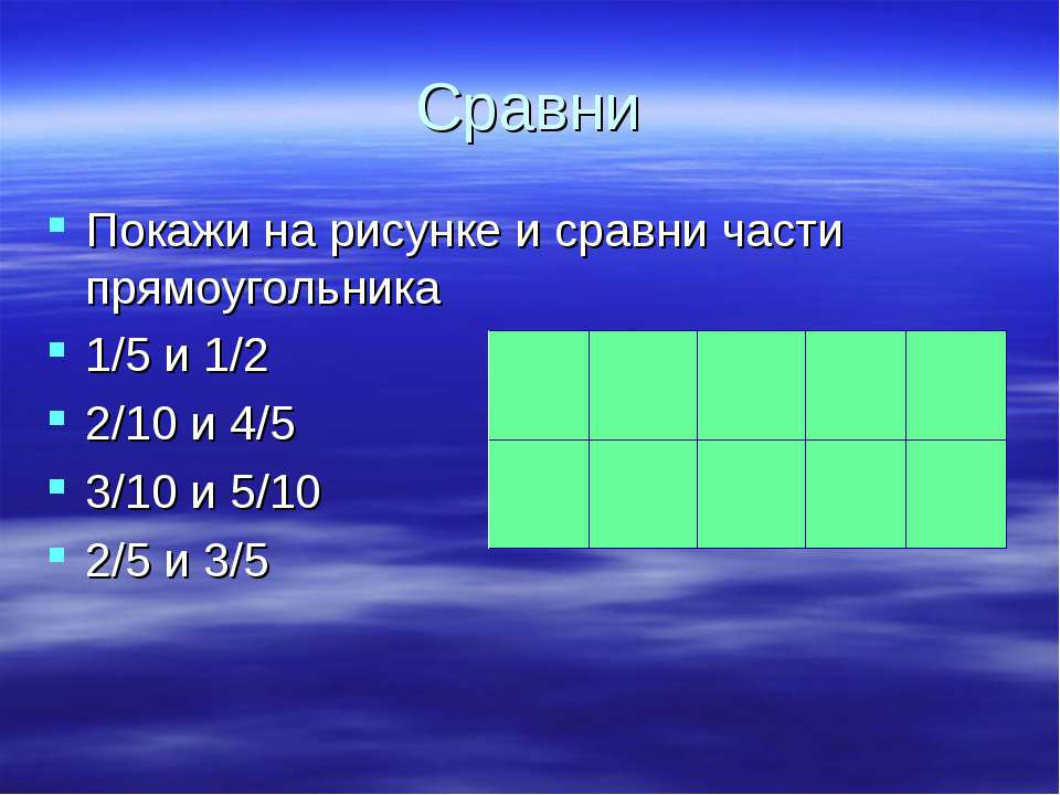 Сравни Покажи на рисунке и сравни части прямоугольника 1/5 и 1/2 2/10 и 4/5 3...