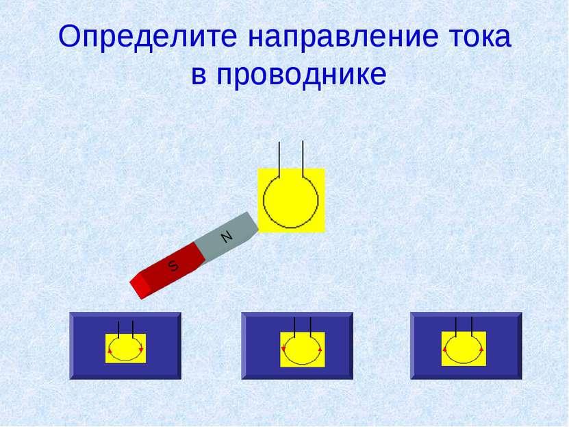 Определите направление тока в проводнике N S