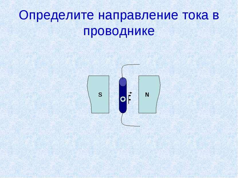 Определите направление тока в проводнике S N