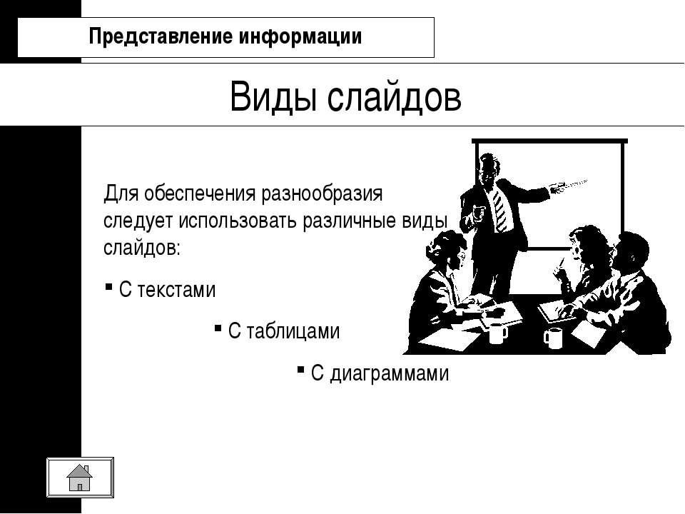 Виды слайдов Представление информации Для обеспечения разнообразия следует ис...