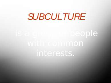 SUBCULTURE is a group of people with common interests.