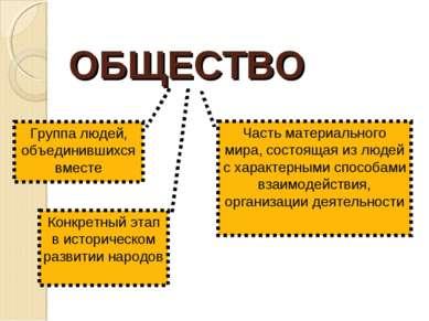 ОБЩЕСТВО Группа людей, объединившихся вместе Конкретный этап в историческом р...