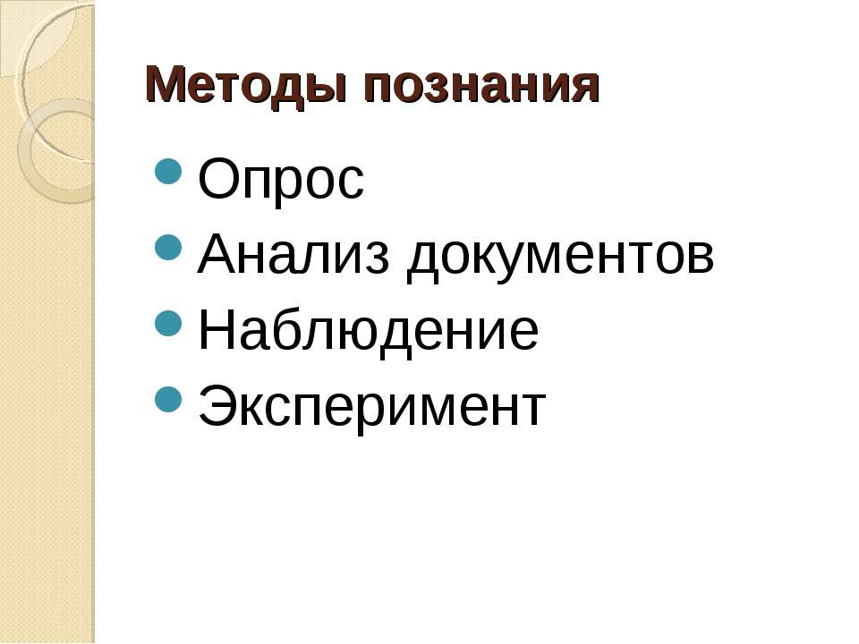 Методы познания Опрос Анализ документов Наблюдение Эксперимент