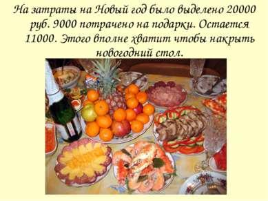 На затраты на Новый год было выделено 20000 руб. 9000 потрачено на подарки. О...