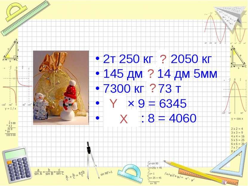 2т 250 кг > 2050 кг 145 дм > 14 дм 5мм 7300 кг < 73 т 705 × 9 = 6345 32480 : ...