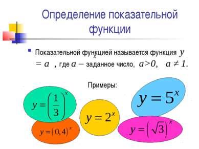 Определение показательной функции Показательной функцией называется функция у...