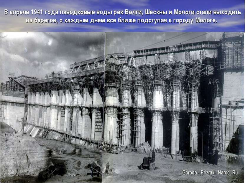 В апреле 1941 года паводковые воды рек Волги, Шескны и Мологи стали выходить ...