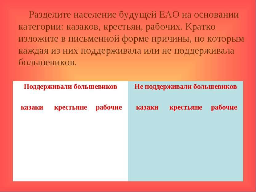 Разделите население будущей ЕАО на основании категории: казаков, крестьян, ра...