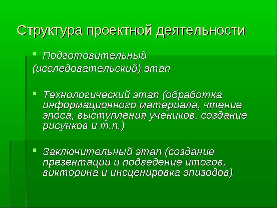 Структура проектной деятельности Подготовительный (исследовательский) этап Те...