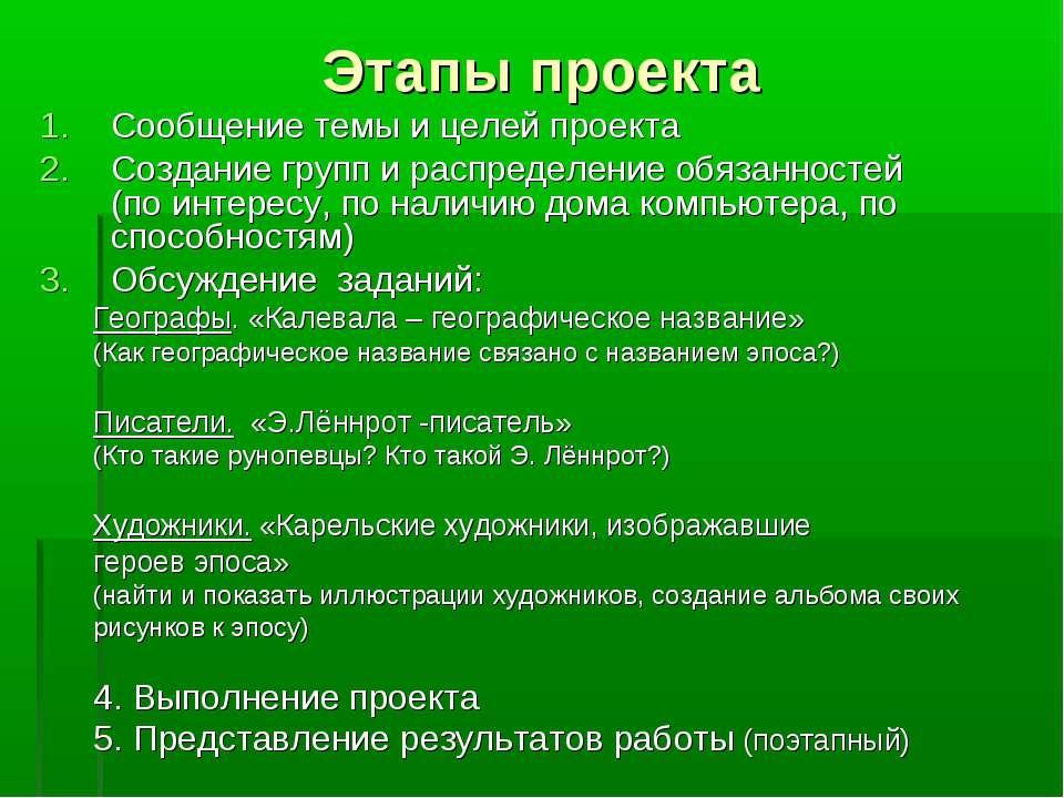Этапы проекта Сообщение темы и целей проекта Создание групп и распределение о...