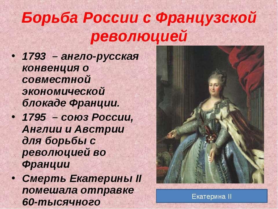 Борьба России с Французской революцией 1793 – англо-русская конвенция о совме...