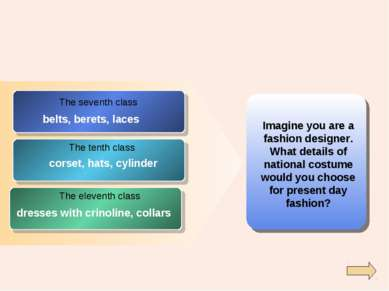 Imagine you are a fashion designer. What details of national costume would yo...