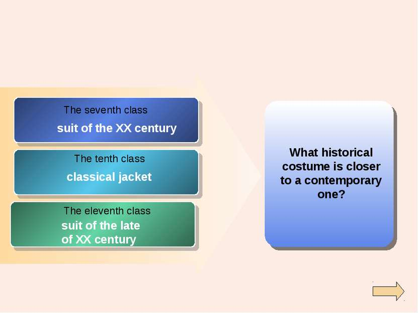 What historical costume is closer to a contemporary one? The seventh class Th...