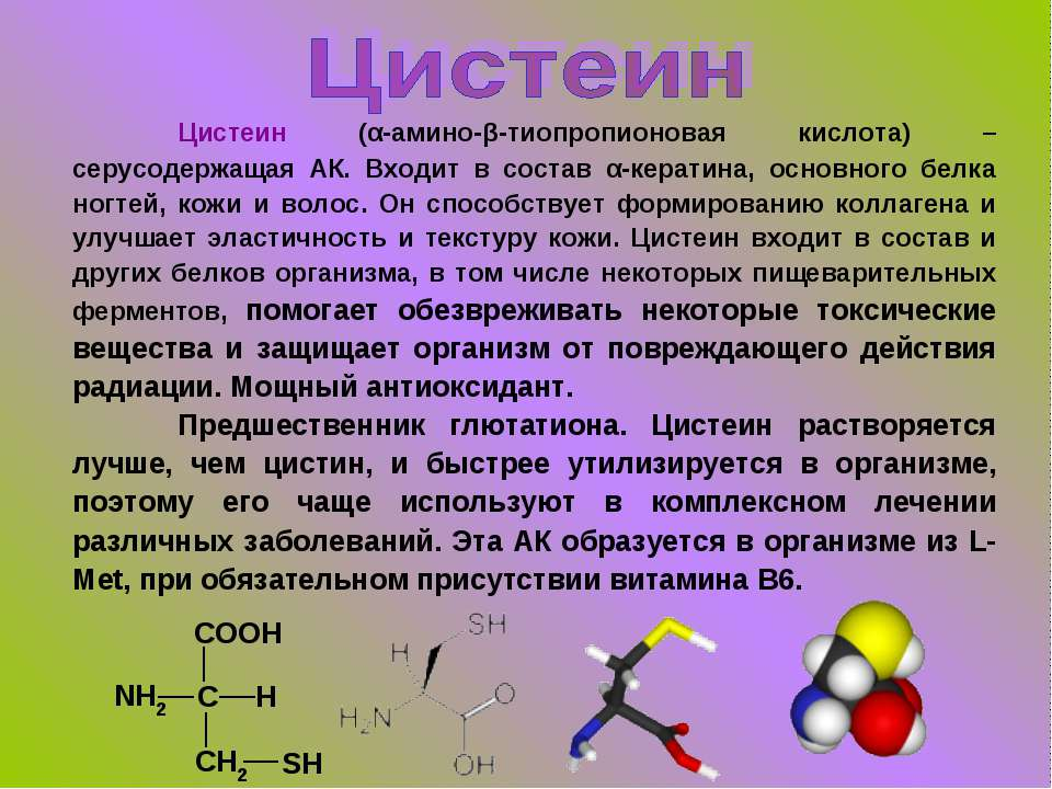 Цистеин (α-амино-β-тиопропионовая кислота) – серусодержащая АК. Входит в сост...
