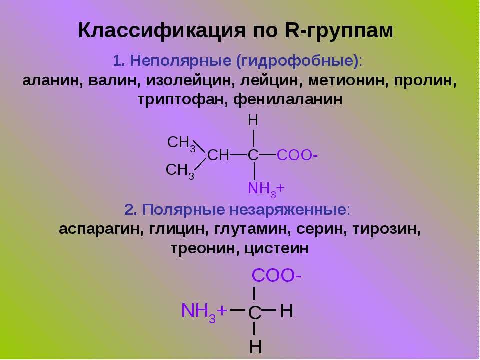 Классификация по R-группам 1. Неполярные (гидрофобные): аланин, валин, изолей...