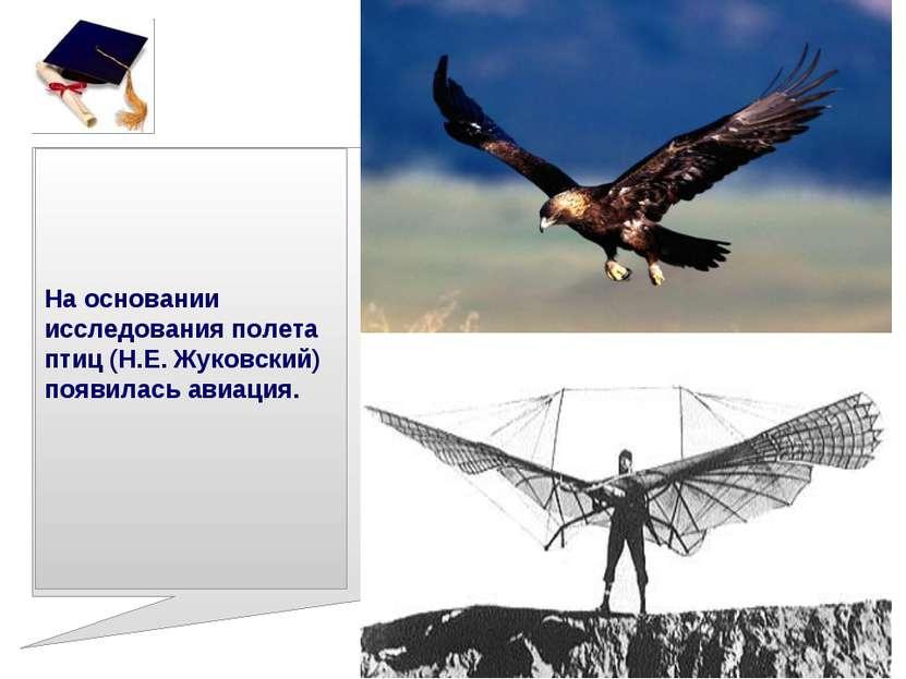 На основании исследования полета птиц (Н.Е. Жуковский) появилась авиация.